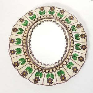 Mexican Folk Art Tin Mirror Purple Flowers Boho